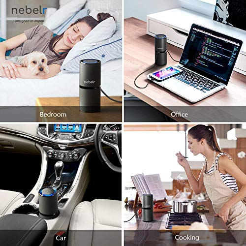 Nebelr Car Air Purifier Ionizer - Removes PM2.5, Smoke, Dust and Bad Odour, No Filter, 9 Million Negative Ions per cm3 generator - Designed in Japan