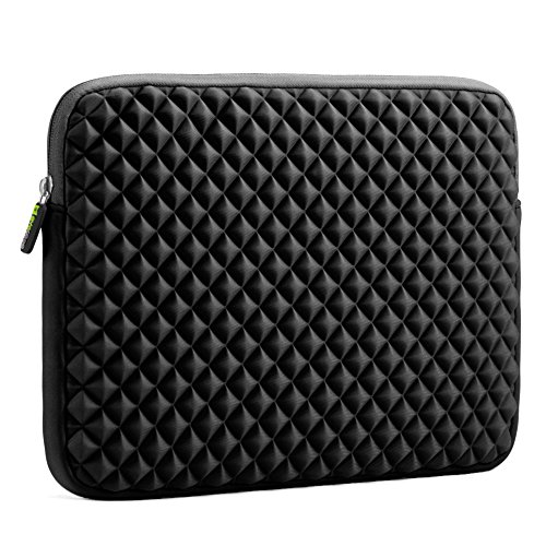 Laptophülle, Evecase Universal Neopren Anti-Schock Laptop Schutzhülle mit Rautenmuster / Diamant-Muster Schaumpolsterung für 11.6 - 12.5 Zoll Laptops Tablets Macbooks Notebooks Chromebook - Schwarz