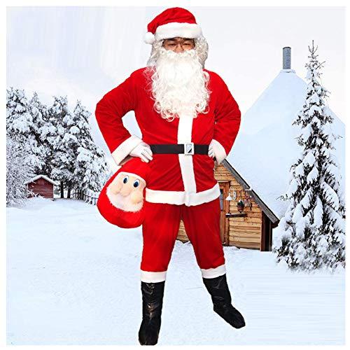 Herren Xxl Kostüm Elf - GSDZN - Santa Claus Kostüm, Weihnachtsmann-Kostüm Erwachsene Herren Weihnachtskostüme, Weihnachten, Verdicken, Warm Halten, 11-teiliges Kostüm, S-3XL,XXL