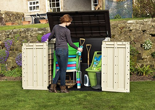 It has a large 1200 litre capacity, ideal for storing most garden items from lawn mowers, garden tools, chairs and anything else you can think of, that needs to be stored in your shed. To give you a better idea of the size, it will store two large 240 litre wheelie bins.