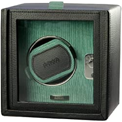 Dulwich Designs Black Leather Single Watch Rotator with Teal Grosgrain Lining
