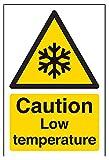 """vsafety 62008AG-R """"Attenzione bassa temperatura temperatura di allarme segnale, Plastica rigida, verticale, 100mm x 150mm, colore: nero/giallo"""