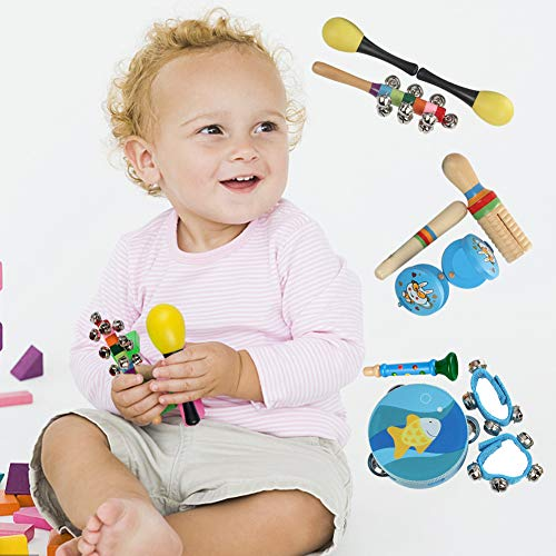 11PCS Kids Musical Instruments Set,Wooden Music Rhythm Percussion Toy for Toddler Preschool Kids,Promoting Early Development and Educational Learning of Boys and Girls -Blue