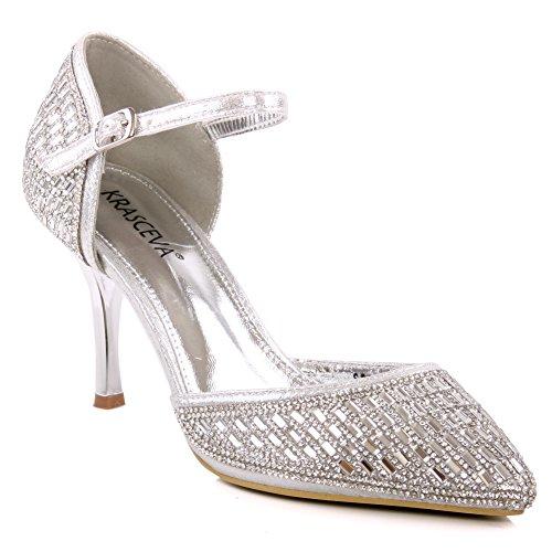 Unze Scarpe a punta Shimmery Court Womens 'Jose' Argento