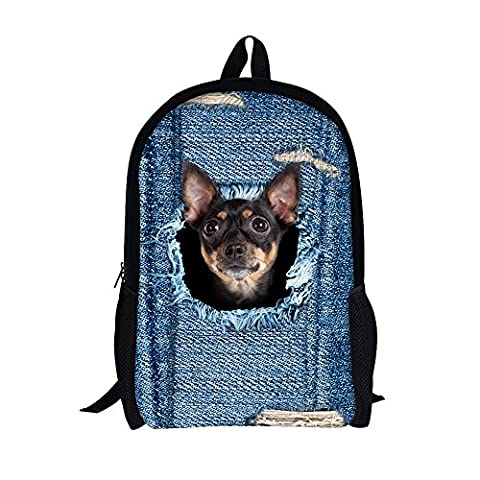 Moolecole Unisex 3D Cute Cat/Dog Patterns Daypack Backpack Boys Girls Casual School Bag Rucksack Cartoon Patterns Shoulder Bags Perfect for School and Travel (Dog Large)