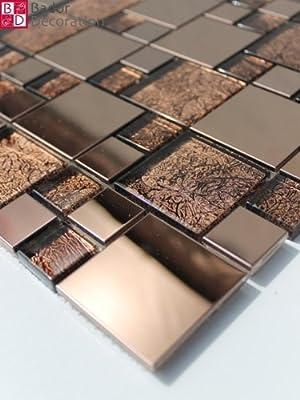 1 Matte Glasmosaik Mosaikfliesen Mosaik Glas Edelstahl Bronze Braun 30x30 8mm von Bador auf TapetenShop