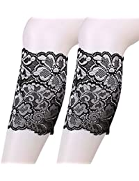 Tinksky Femmes Stretch Lace Boot Leg Cuffs Soft Elastic Laced Boot Sock Cuff Toppers, cadeau pour femme (Argent)
