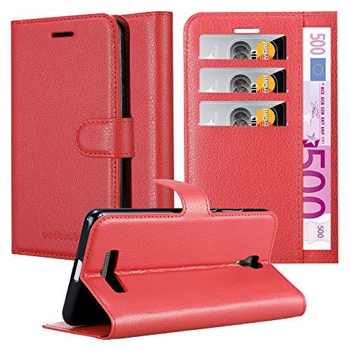 Cadorabo Hülle für ZTE Blade L5 Plus - Hülle in Karmin ROT - Handyhülle mit Kartenfach & Standfunktion - Case Cover Schutzhülle Etui Tasche Book Klapp Style