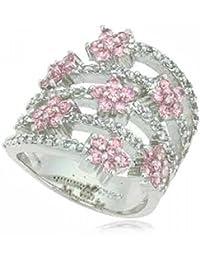 Bague spirale fleur rose diamant simulé en argent Taille 7