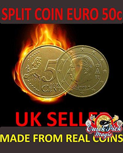 Magic 50 Cent Euro Coin Split / Split 50c Euro Coin magischer Trick / Thru -Münzen - Beutel (Magische Tricks Münzen Mit)