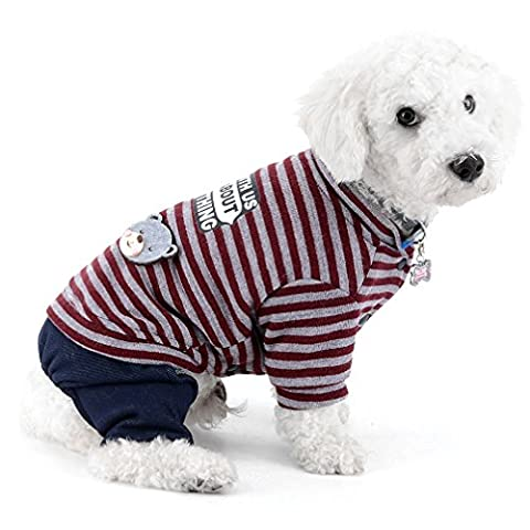 Ranphy Small Small Dog Cat Jumpsuit Denim Pants Striped Outfits Chihuahua Clothes Dog Pajamas Puppy Shirt Overalls for Dogs Wine