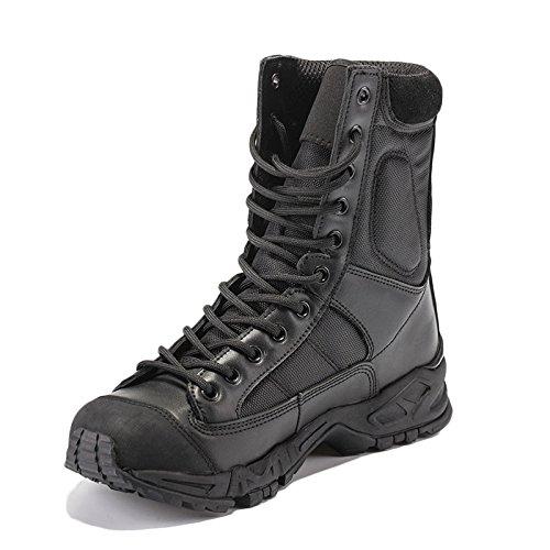Scarpe da Trekking Uomo Impermeabile Nero Leggero Estate Stivali Militari Traspiranti Ultraleggero Stivali da Combattimento All'aperto,Black-43