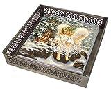 Angel & Katze Schnee Weihnachten 20 X 3 Ply Papierservietten & Silberne Blume Serviettenhalter Set