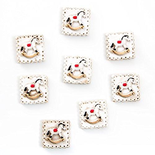 8 Stück kleine Tisch-Streu SCHAUKEL-PFERD mini Lebkuchen-Form in weiß rot gold vintage 2,5 x 2,5 cm Streu-Teile Streu-Deko Weihnachts-Deko Weihnachten Tischdeko weihnachtlich Zierschmuck