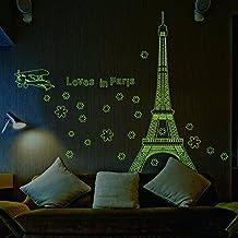 Pegatina Luminosa de pared adhesiva de Paris torre eiffel