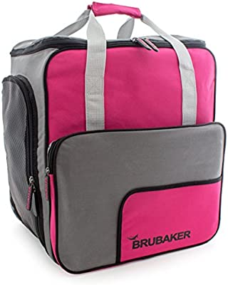 BRUBAKER 'Super Function 2.0' Bolso Para Deporte - Mochila Porta Botas De Esquí - Rosa / Gris