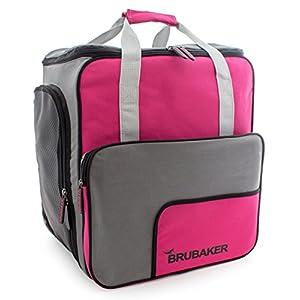 BRUBAKER Skischuhtasche Helmtasche Skischuhrucksack Superfunction Pink Grau – Limited Edition –