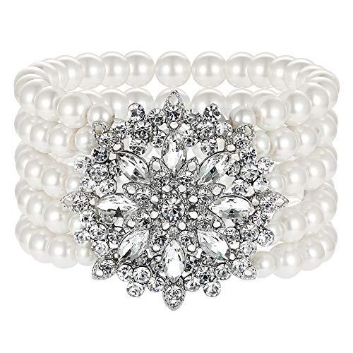 ArtiDeco 1920s Armband Perlen Damen Gatsby Kostüm Zubehör Blinkende Kristall Armreif 20er Jahre Accessoires für Damen (Stil 4-Silber)