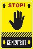 Betreten verboten Schild -212- Stop Hand 29,5cm * 20cm * 2mm, ohne Befestigung