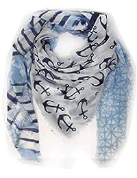 d4a13027dbc8b7 Unbekannt Fashion&DUDamen Schal tuch Dreieckstuch Schultertuch SCHAL  quadratisch Anker Stern curry rot blau grau M1