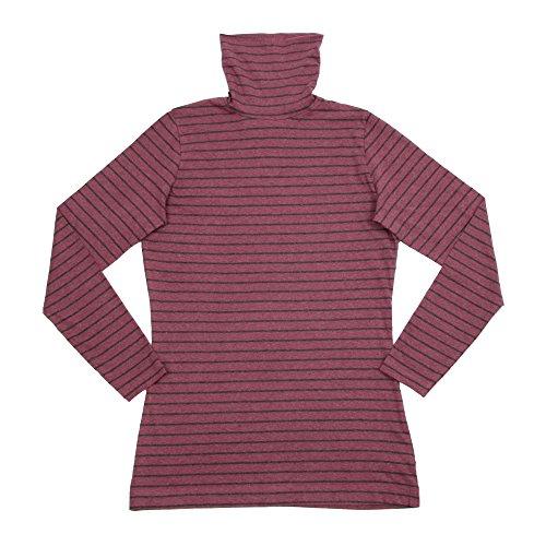 Living Crafts Damen Rollkragen-Shirt aus Bio-Baumwoll-Jersey Berry/Anthracite Melange