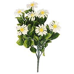 2 Bunch Artificial Chrysanthemum Daisy Flowers Bouquet Home Office Desktop Vase Decor - Rosado, White