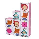 Songmics Regalsystem Kinderregal Kleiderschrank Garderobenschrank Spielzeugkiste Wäscheschrank Kapazität 450L Rosa 112 x 112 x 37 cm LPC33P