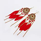 Cosanter 1Par Pendientes Estilo Borla Vintage Pendientes Largos de Plumas Pendientes de Mujer Pendientes de Plumas Rojas