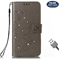 Funda Galaxy S8 Plus,Funda Cover Galaxy S8 Plus,Aireratze Slim Case de Estilo Billetera Carcasa Libro de Cuero,Carcasa PU Leather Con TPU Silicona Glitter Bling Diamond Butterfly en relieve planta pintura china Case Interna Suave [Función de Soporte] [Ranuras para Tarjetas y Billetera] [Cierre Magnético] para Samsung Galaxy S8 Plus (gris) (+ Cable USB)