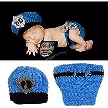 HAPPY ELEMENTS Bebé recién nacido hecha a mano del policía del sombrero del ganchillo del pañal Conjunto infantil del traje del equipo apoyos de la fotografía