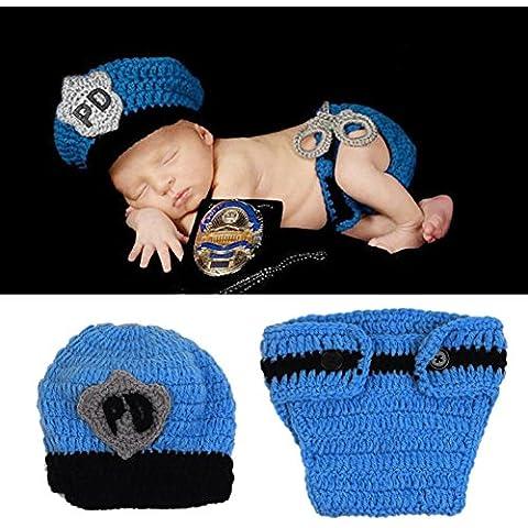 HAPPY ELEMENTS Bambino appena nato a mano poliziotto Crochet Cappello pannolino Set infantile del costume Fotografia Props