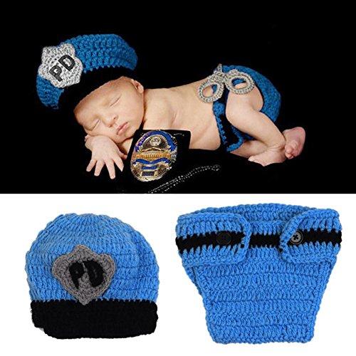 HAPPY ELEMENTS Neugeborenes Baby Handgemachtes Polizist Häkelarbeit Hut Windel Gesetztes Säuglingskostüm Ausstattungs Fotoprops (Baby Polizist Kostüme)