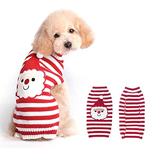 BOBIBI Pet Holiday Christmas Santa Claus Dog Sweater Cat Clothes Pet Jerseys Clothing by BOBIBI