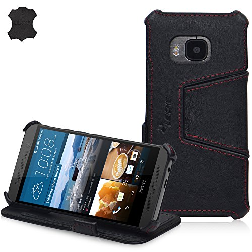 MANNA UltraSlim Hülle für HTC One M9 | Tasche Aufstellbar | Case aus Nappaleder