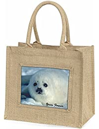 Snow Seal 'Yours Forever' Large Natural Jute Shopping Bag Christmas Gift Idea