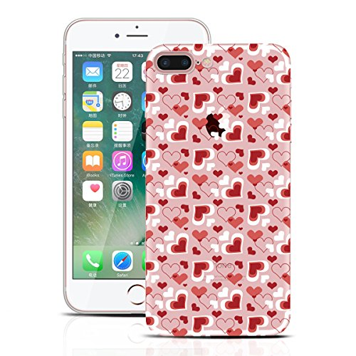 Yokata Coque iPhone 7 (4.7 inch) Housse Étui Bumper de Silicone Souple + Back Cover PC Dur Rigide Etui Apple iPhone 7 Hard Case Clair Transparent Ultra Mince Cover Anti Rayures Housse de Protection +  Amour Rouge