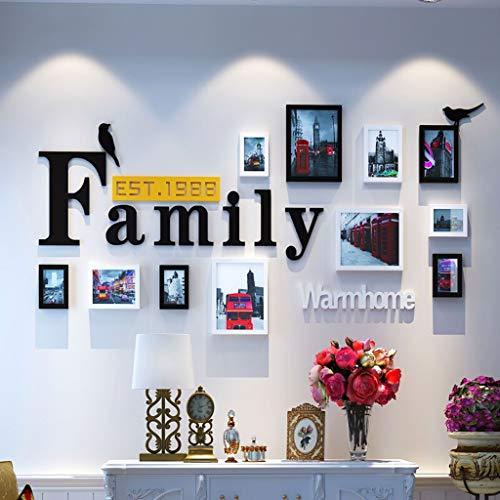hmen Collage Massivholz Kombination Wohnzimmer Fotorahmen Wand Kreative Restaurant Hintergrund Wanddekoration 11 Fotorahmen + Brief Aufkleber Foto Art Deco Wand (Color : C) ()