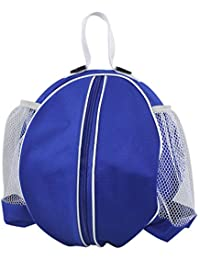 Blue+White : Basketball Storage Bags Practical Portable Large Round Football Bag With Single Shoulder