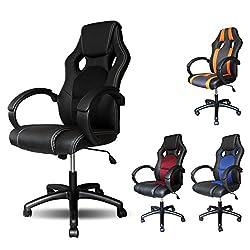 VINGO® Chefsessel schwarz Racing Höhenverstellbar Bürodrehstuhl Premium Racing Stuhl mit sehr hochwertige Polsterung
