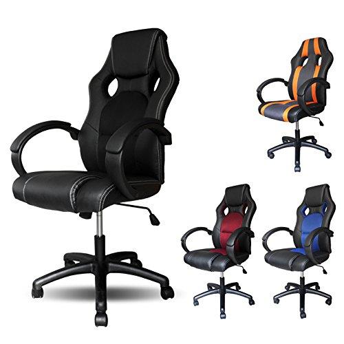 Vingo® PU–Silla con muy alta calidad acolchado silla de oficina giratoria ergonómico comodidad, color negro
