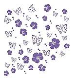kleb-drauf | 19 Blüten, 19 Schmetterlinge und 42 Punkte | Lila - matt | Wandtattoo Wandaufkleber Wandsticker Aufkleber Sticker | Wohnzimmer Schlafzimmer Kinderzimmer Küche Bad | Deko Wände Glas Fenster Tür Fliese