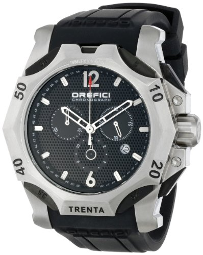 Orefici ORM11C4801 Men's Subacqueo Trenta Black Dial Black Rubber Strap Chrono Watch