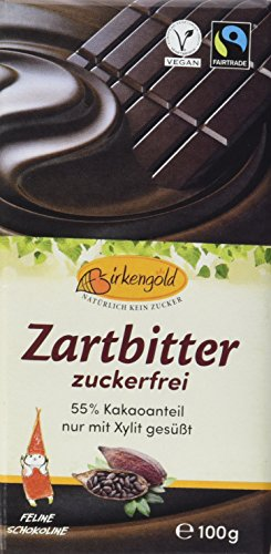 Birkengold Birkenzucker Zartbitter Schokolade, 3er Pack (3 x 100 g)