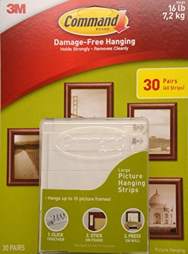 Command Large Picture & Frame Hanging Strips, 17206 (30 Pairs)