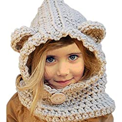 Yuccer Sombrero Caliente Invierno de Bebé, Gorros de Punto Bufanda del Niño para Chicas Chicos (Conejito Gris)