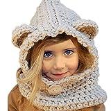 Yuccer Cappelli Inverno Bambino, Cappello Maglia Sciarpa Cappello Calda Cappuccio Sciarpa per Ragazzi Ragazze (Coniglietto Grigio)