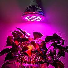 Bombillas Plantas 24W Luces LED Foco de Crecimiento Iluminación para plantas de interior E27 Plant Lámpara de jardín para Planta bajo consumo de energía,3 Bandas