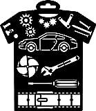 YART PRONTY Textil-Schablone T-Shirt Car 236x205mm Auto KFZ Werkzeug Schrauber basteln schablonieren Wandtattoo Motiv Kunststoff