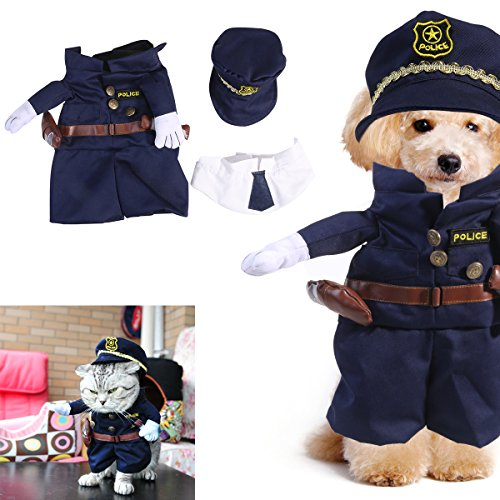UEETEK Funny Dog Cat Jeans Uniforme Ropa para mascotas Cosplay vestido de fiesta Canival, tamaño M (dentro de 10 kg)