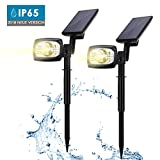 Solarleuchten 2 Stück 5 LED Wasserdichte Solar Bodenstrahler Dunkel Sensorik Solarlampe Stehleuchten für Rasen Weg Hof Fahrstraßen Innenhof Gehweg Pool-Bereich